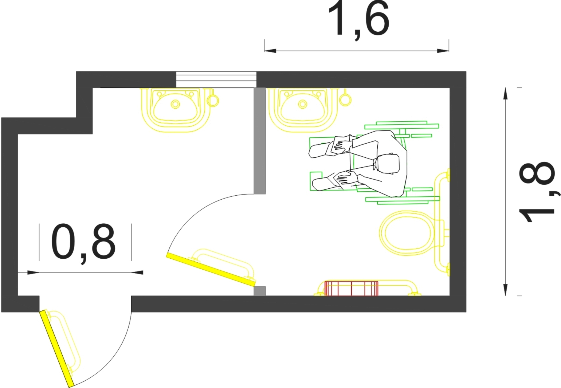 planta com proposta de acessibilidade para o sanitário #BFBF0C 1845 1275