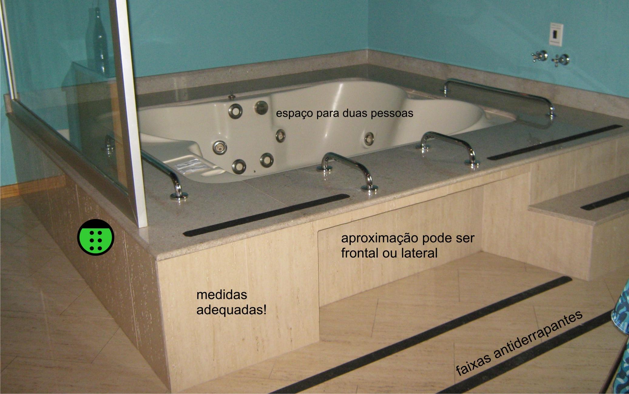Acesso para a banheira de acordo com a Norma de Acessibilidade. #26A526 2073x1299 Acessibilidade Idosos Banheiro