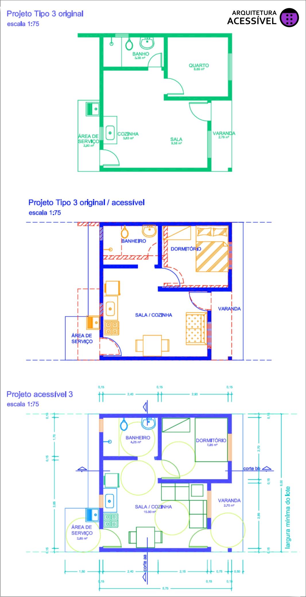 No projeto 3 a parede vermelha foi alterada mas só as paredes  #080BC3 1066x2077 Banheiro Acessivel Planta Baixa