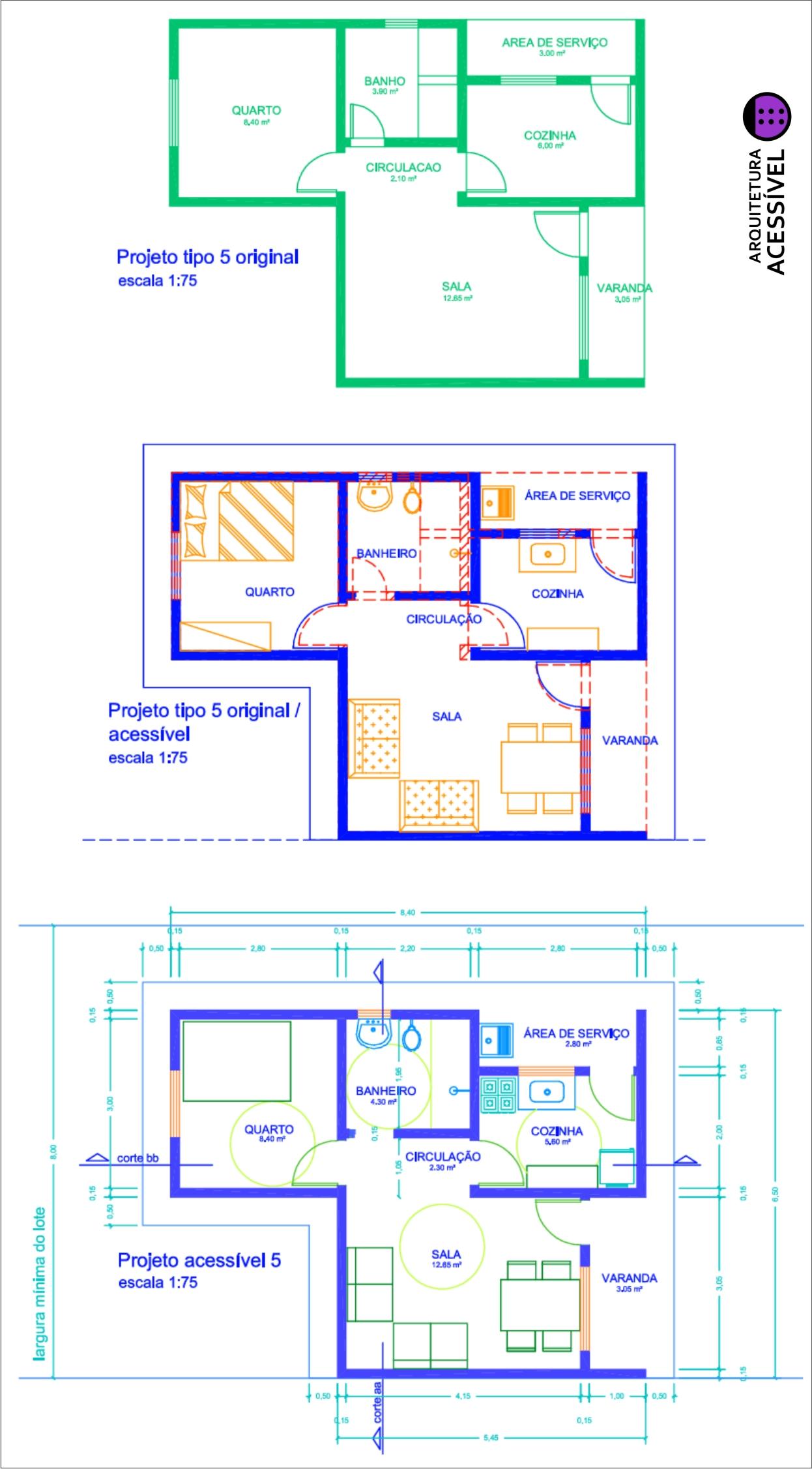 Habitação Popular Acessível Arquitetura Acessível #0707C4 1246x2253 Banheiro Acessivel Medidas