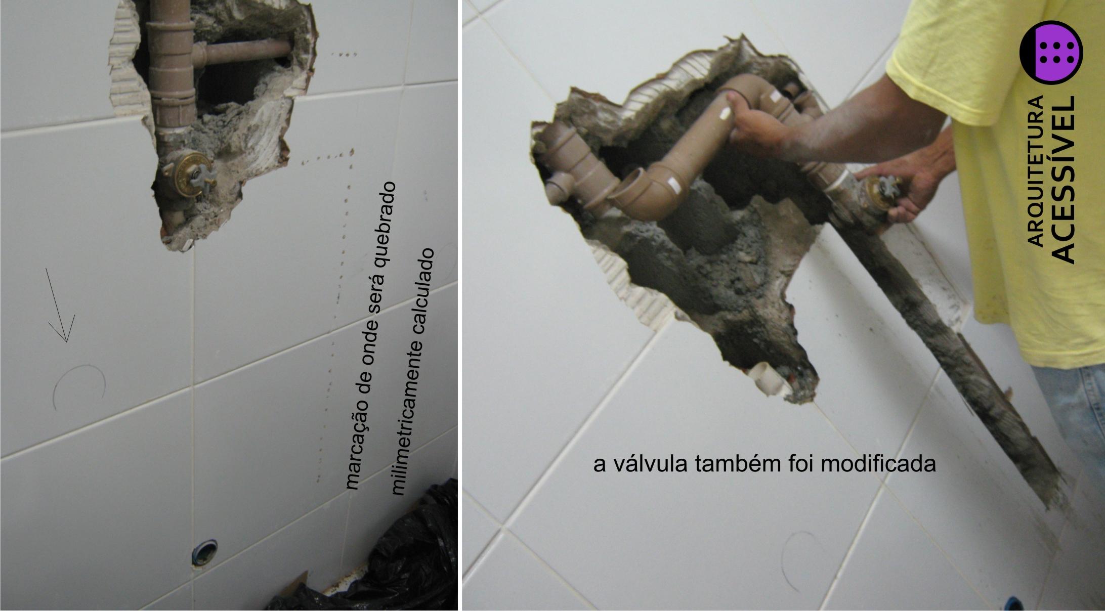 sanitário sendo reformado mudanca de posicao da valvula da descarga #807849 2184 1208