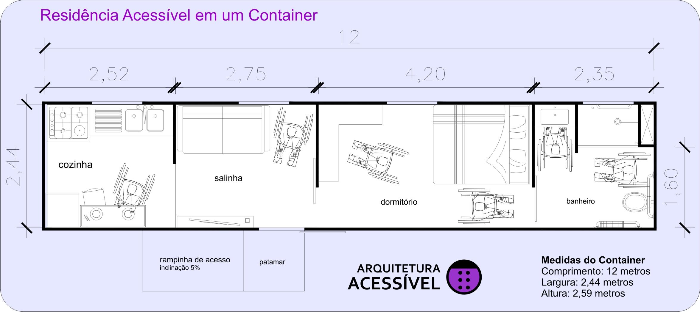 desenho da planta de uma casa acessível para pessoa de cadeira de  #8223A8 2350 1049